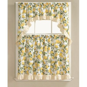 Storer Lemon Fest Kitchen Curtain Set (Set of 3)