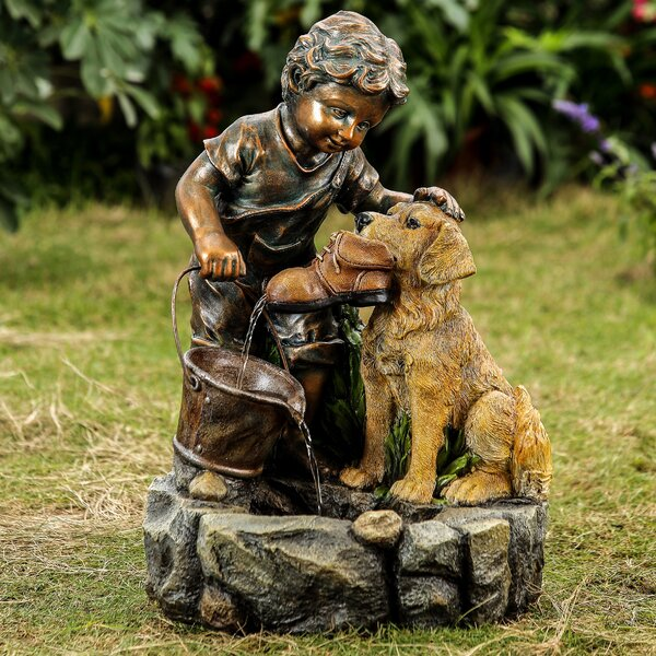 Resin/Fiberglass Boy Plays with Dog Water Fountain by Jeco Inc.