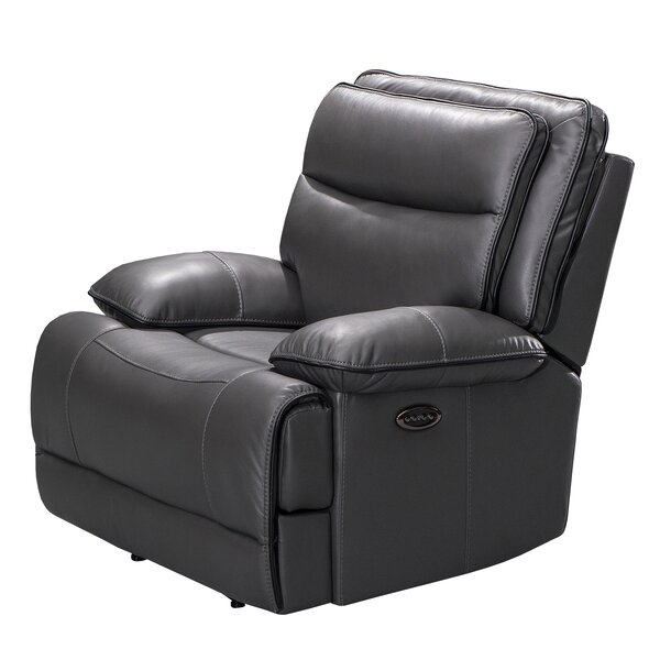 Faux Leather Upholstered Power Recliner Chair With Power Headrest,Gray W002378280