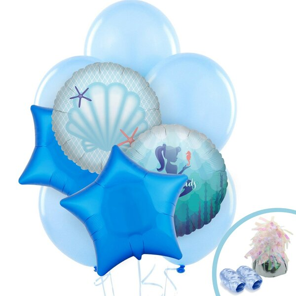 13 Piece Mermaids Under the Sea Latex Foil Disposable Balloon Bouquet Set [NA]