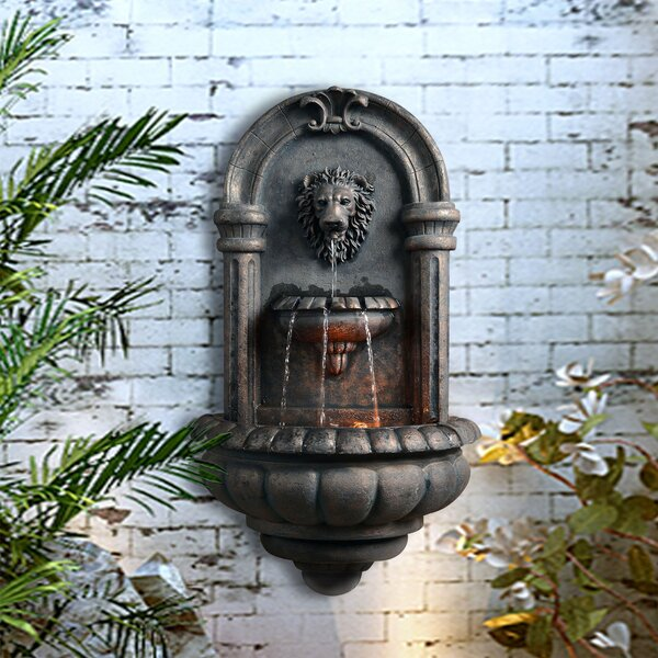 Resin Outdoor Royal Lion Head Wallfall Fountain with Light by Peaktop