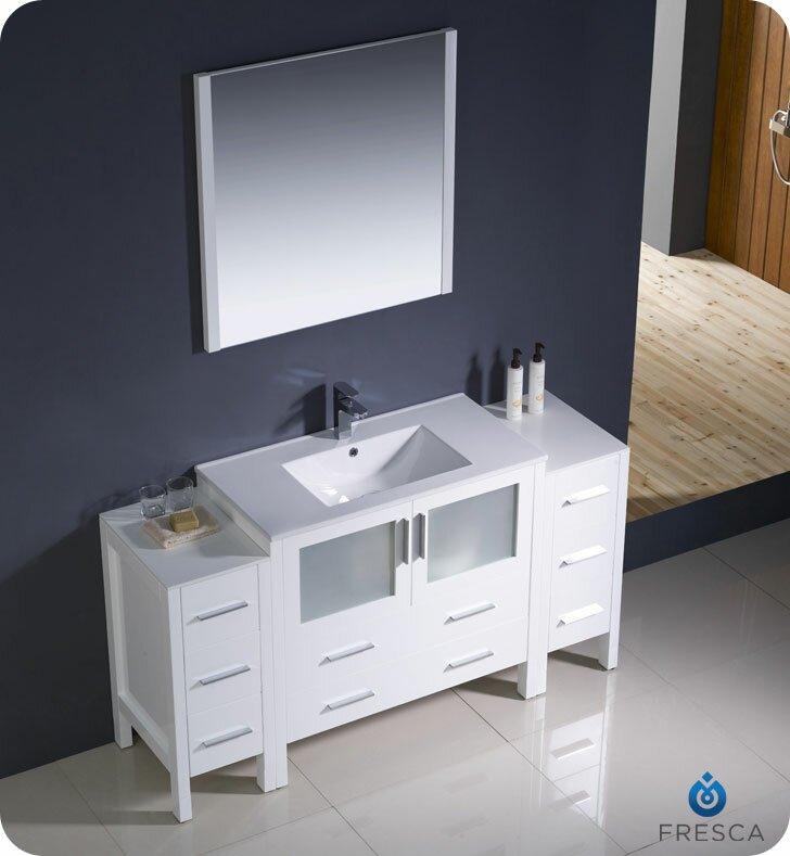 "Modern Bathroom Vanity Sets fresca torino 60"" single modern bathroom vanity set with mirror"