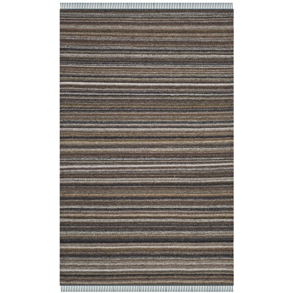 Sojourn Hand-Woven Brown/Blue Area Rug by Ivy Bronx