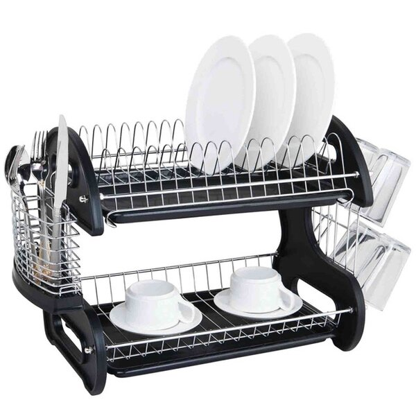 Sleek Contemporary 2 Tier Dish Drainer by Sweet Home Collection