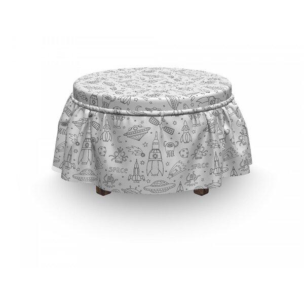 Free S&H Alien Mono Space Design 2 Piece Box Cushion Ottoman Slipcover Set
