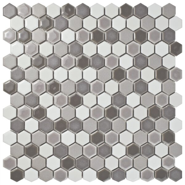 Astraea Hex 0.9 x 1.01 Porcelain Mosaic Tile in Luna by EliteTile
