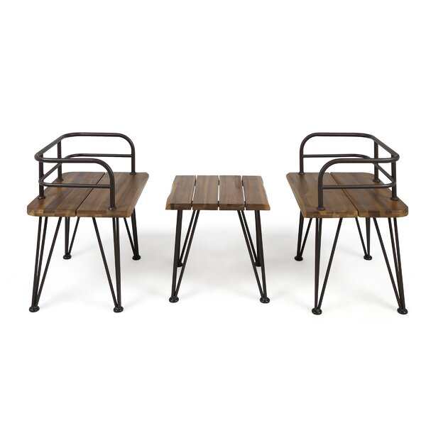 Hansell Outdoor Industrial 3 Piece Seating Group by Williston Forge