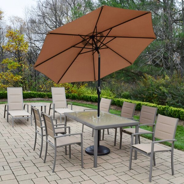 Padded Sling 10 Piece Dining Set with Umbrella by Oakland Living