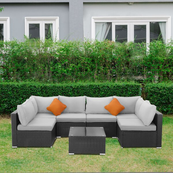 Lothen 7 Peice Rattan Seating Group with Cushions by Latitude Run