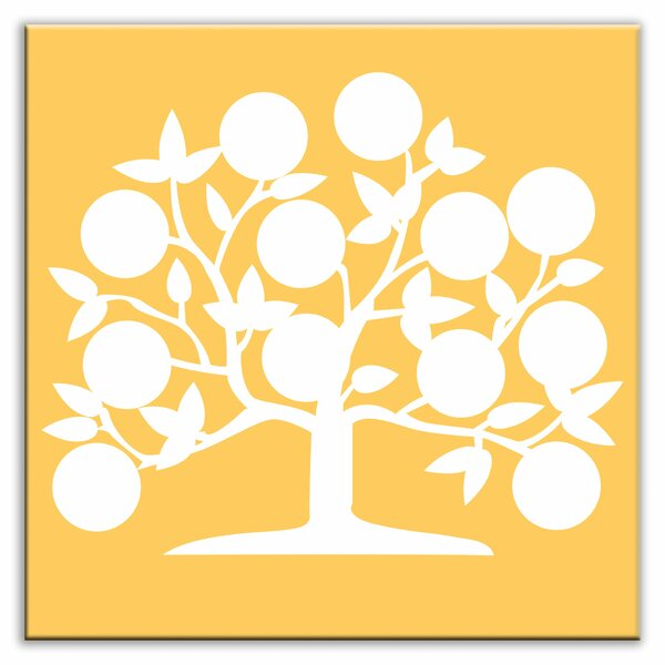 Folksy Love 4-1/4 x 4-1/4 Satin Decorative Tile in Tree of Life Yellow by Oscar & Izzy