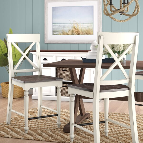 Mulford Solid Wood Barstool (Set of 2) by Beachcrest Home