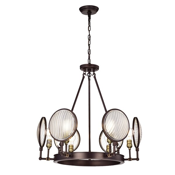 Io 6 - Light Unique / Statement Wagon Wheel Chandelier with Wrought Iron Accents by Williston Forge Williston Forge