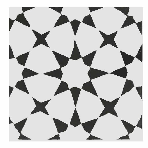 Medina 8 x 8 Handmade Cement  Tile in Black/White by Moroccan Mosaic