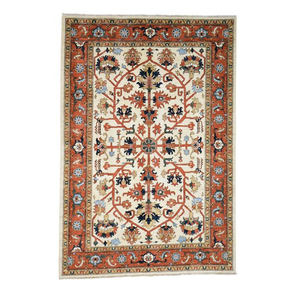 One-of-a-Kind Salvato Peshawar All-over Hand-Knotted Beige/Red Area Rug by Astoria Grand