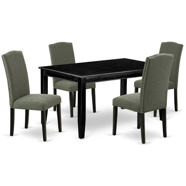 Teena 5 Piece Solid Wood Dining Set by Alcott Hill