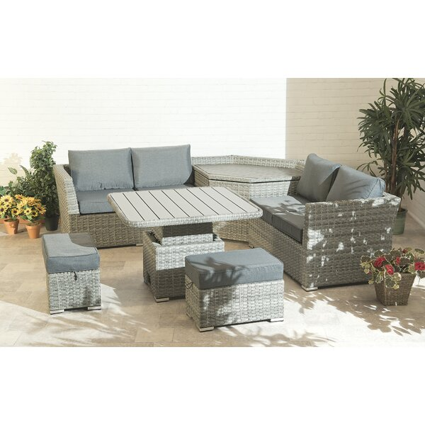 Cisbrough 6 Piece Rattan Sofa Seating Group with Cushions by Brayden Studio