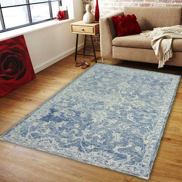 Barret Hand-Tufted Wool Navy Area Rug by One Allium Way