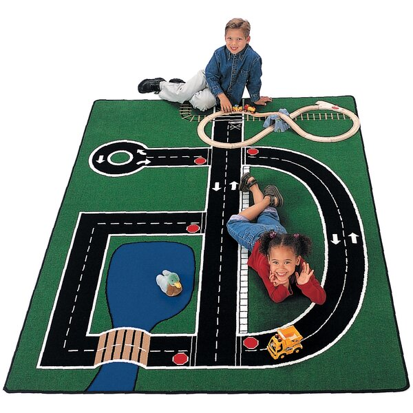 Theme Neighborhood Road Green Area Rug by Carpets for Kids