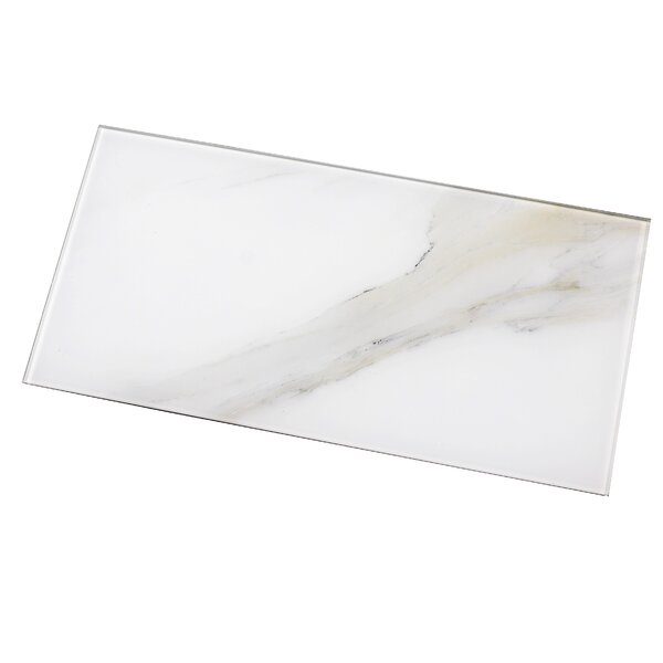 Nature 8 x 16 Glass Subway Tile in Calacatta White/Gray Veins by Abolos