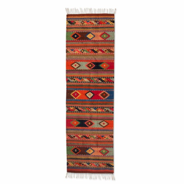 Hand-Woven Orange Area Rug by Novica