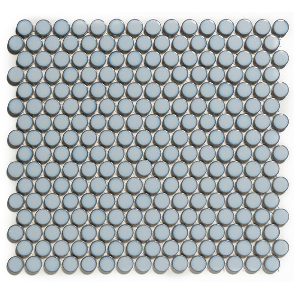 Venice Penny Retro Edge Glossy 0.75 x 0.75 Porcelain Mosaic Tile in Blue by The Mosaic Factory