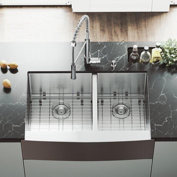 33 L x 22.25 W Farmhouse Apron 60/40 Double Bowl 16 Gauge Stainless Steel Kitchen Sink with Faucet by VIGO