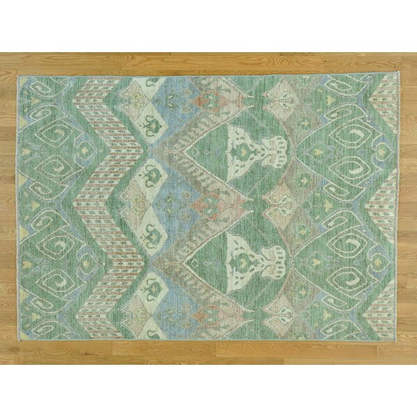 One-of-a-Kind Chelvey Ikat Uzbek Design Handwoven Wool Area Rug by Isabelline