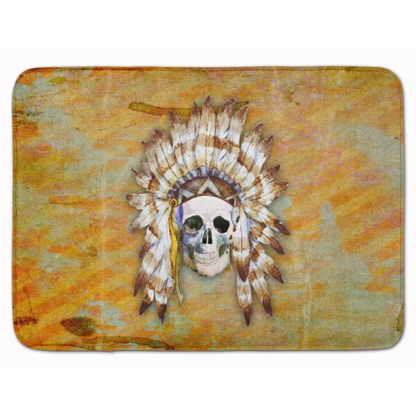 Day of the Dead Indian Skull Memory Foam Bath Rug by East Urban Home