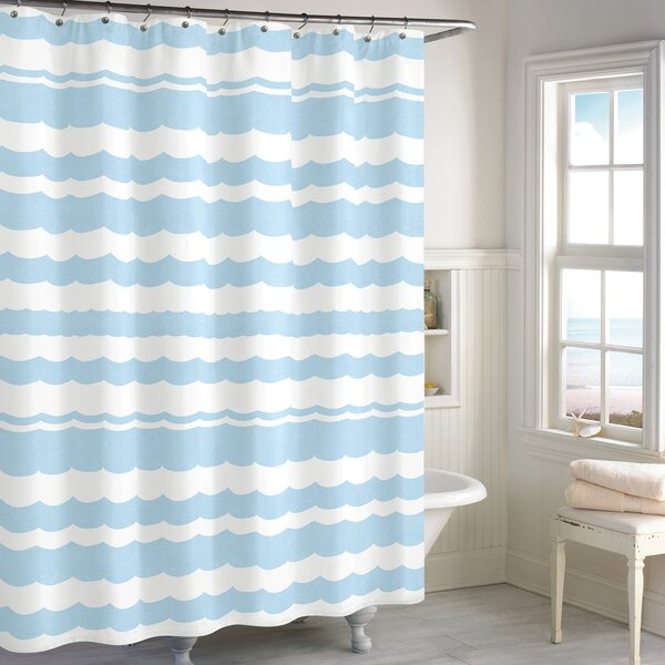 Cissell Scallop Cotton Shower Curtain by Highland Dunes