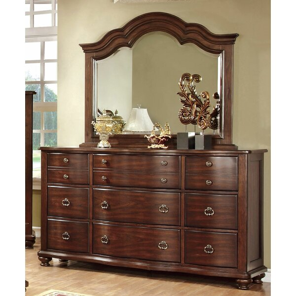 Duffy 9 Drawer Double Dresser with Mirror by Canora Grey