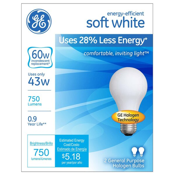Frosted Halogen Light Bulb by GE Lighting