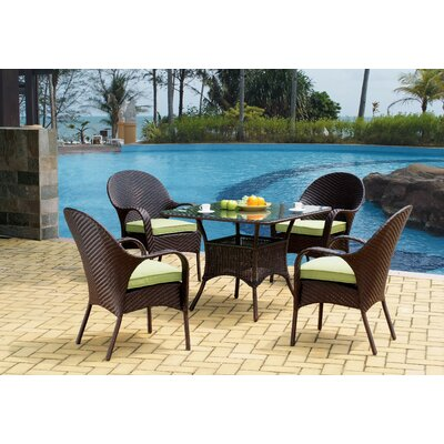 Isabell Stacking Patio Dining Chair with Cushion Highland Dunes Frame Color: Chocolate Brown, Cushion Color: Canvas Khaki