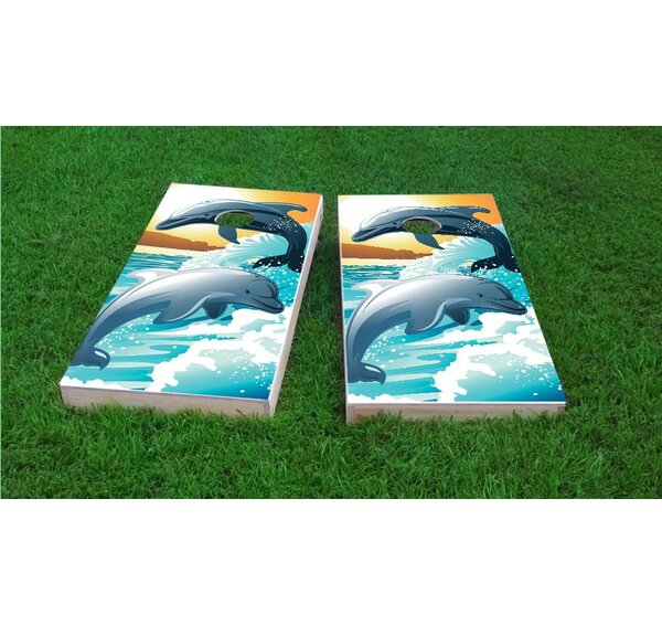 Dolphins Playing in The Oceans Waves Cornhole Game Set by Custom Cornhole Boards