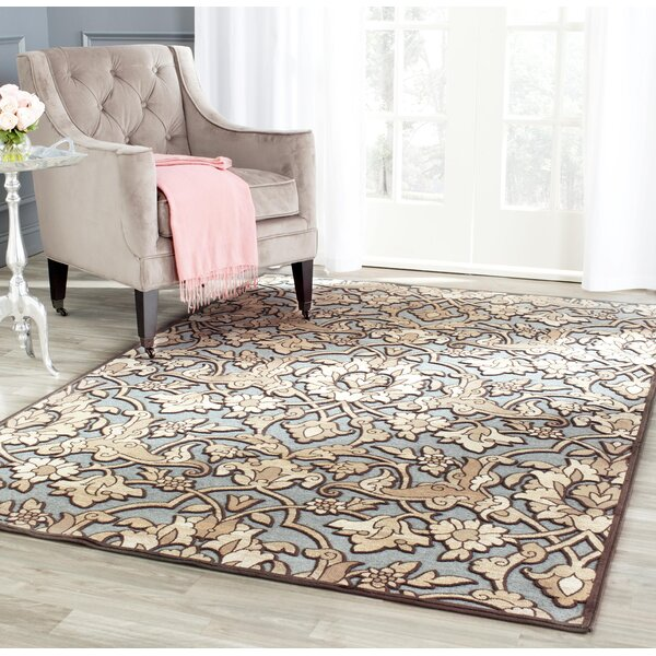 Berloz Soft Anthracite / Anthracite Floral Plant Area Rug by House of Hampton