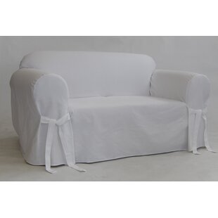 Twill One Piece Box Cushion Loveseat Slipcover