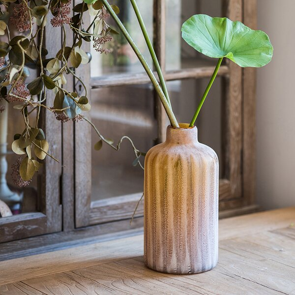 Spoffo Hand Blown Frosted Art Glass Table Vase by World Menagerie