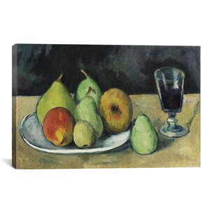 'Verre Et Poires 1879-1880' by Paul Cezanne Painting Print on Wrapped Canvas by iCanvas