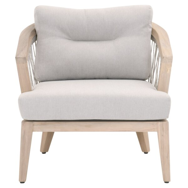 Minarets Teak Patio Chair with Cushions by Bungalow Rose