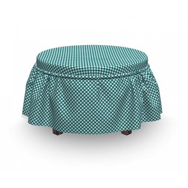 European Dotted 2 Piece Box Cushion Ottoman Slipcover Set By East Urban Home