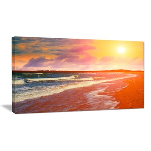 Desert Beach at Sunset Modern Beach Photographic Print on Wrapped Canvas by Design Art