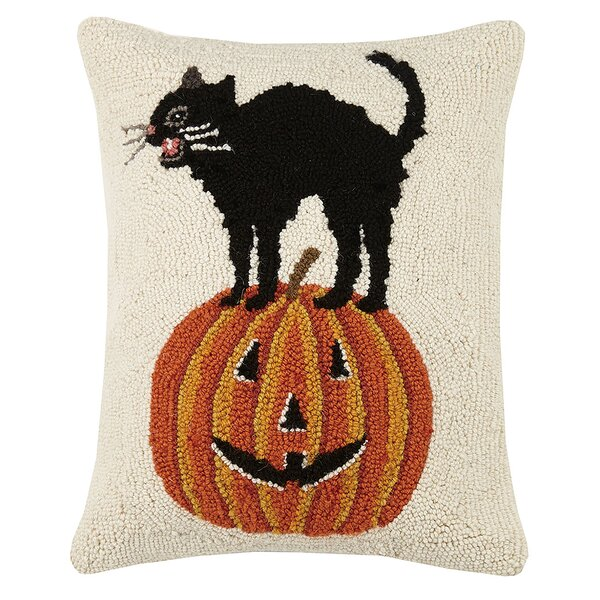 Mcgrady Cat Pumpkin Hook Wool Lumbar Pillow by The Holiday Aisle
