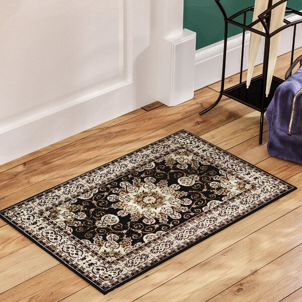Meredosia Oriental Black/Beige Area Rug by Three Posts