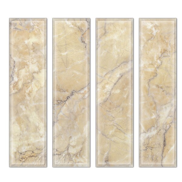 Crystal 3 x 12 Beveled Glass Subway Tile in Brown/White by Upscale Designs by EMA