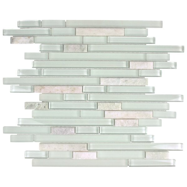 Sierra Random Sized Glass and Natural Stone Mosaic Tile in Ming by EliteTile