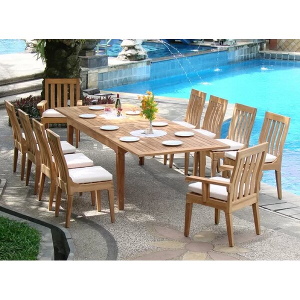 Metson Luxurious 11 Piece Teak Dining Set by Rosecliff Heights