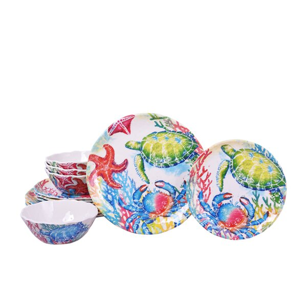 Marine Melamine Life 12 Piece Dinnerware Set, Service for 4 by 222 Fifth