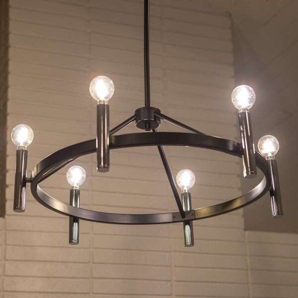Boissonneault 6 - Light Candle Style Wagon Wheel Chandelier By Williston Forge