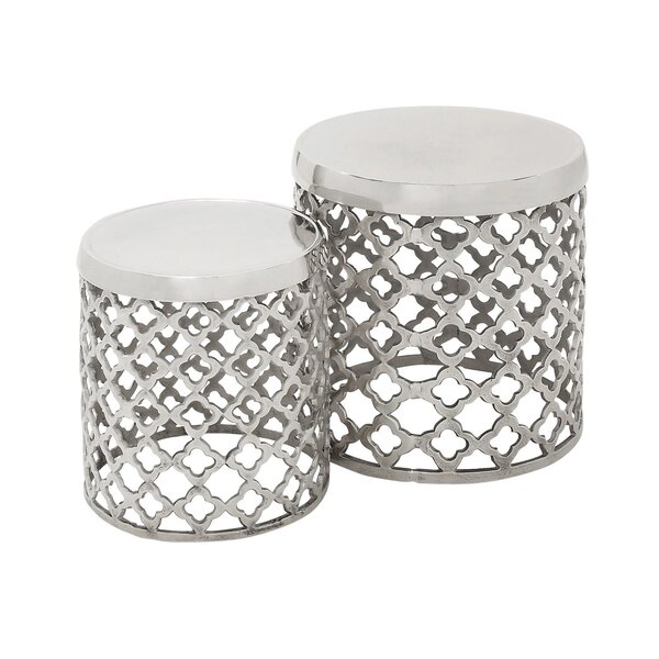 2 Piece Round Lattice Drum Stool Set by Urban Designs