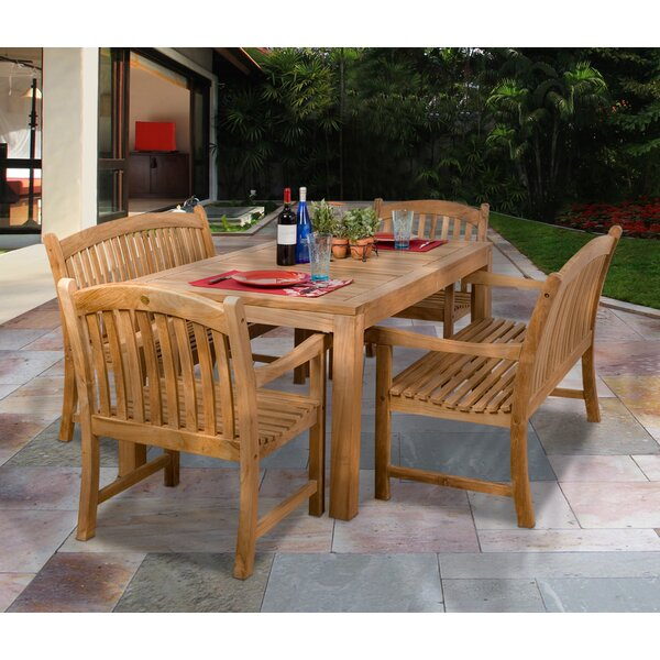 Amani International Home Outdoor 5 Piece Teak Dining Set by Rosecliff Heights