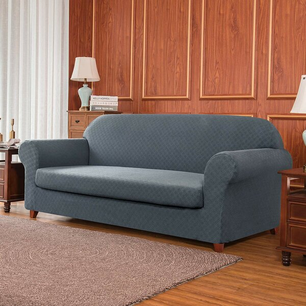 2 Piece Box Cushion Loveseat Slipcover Set By Subrtex